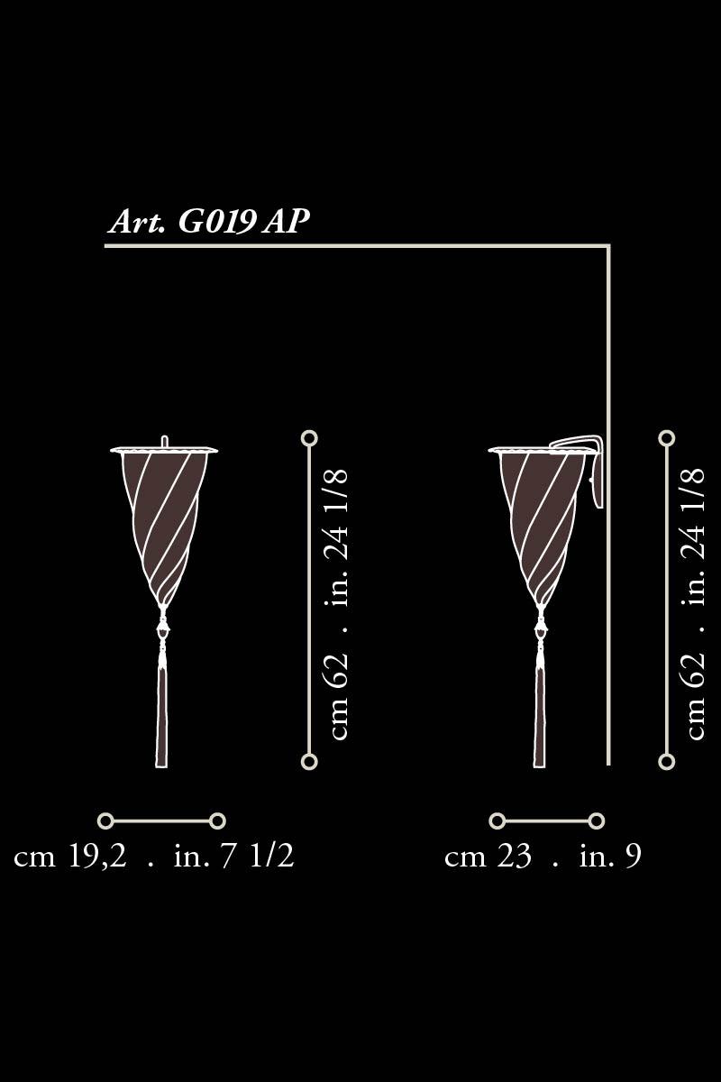 Goldene applizierte Fortuny Cesendello Glaswandleuchte Maße