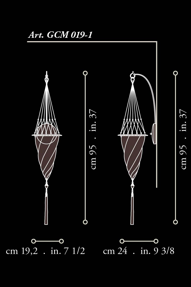 Fortuny Cesendello Bogenwandglasleuchte Abmessungen