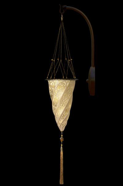 Goldene Fortuny Bogenwandglasleuchte