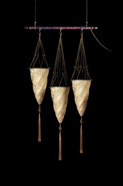Fortuny Cesendello Glasleuchte an einer Stange mit 3 Lichtpunkten