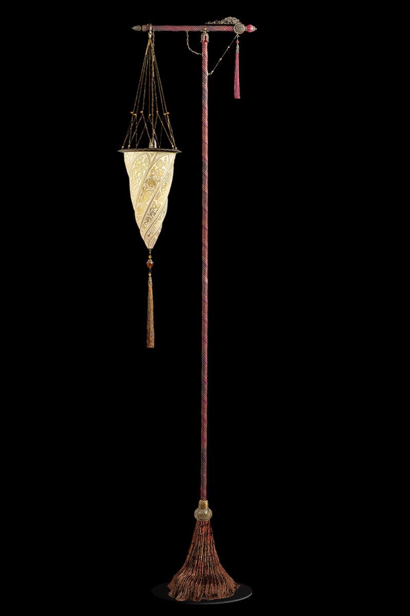 Fortuny Cesendello goldene Stehleuchte aus Glas mit rotem Ständer