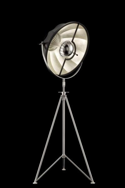 Fortuny Studio 63 Stehleuchte mit Stativstange aus Schwarz und Blattsilber