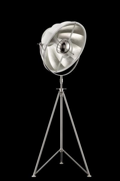 Fortuny Studio 63 Stehleuchten mit Stativstange aus Weiß und Blattsilber