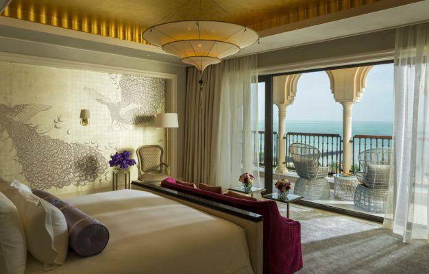 3 Ebenen einfache Seidenlampe Scheherazade im Four Seasons Resort Hotel in Dubai, Hauptschlafzimmer der Royal Suite