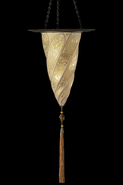Fortuny Cesendello Goldene Glasleuchte mit Metallring