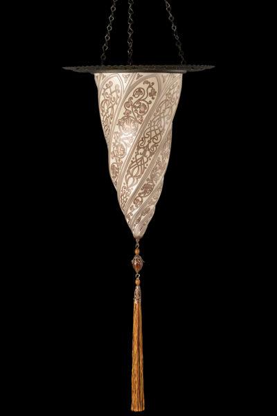 Fortuny Cesendello Silberne Glasleuchte mit Metallring