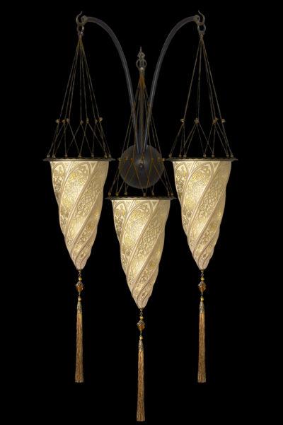 Goldene Fortuny Cesendello Dreifachbogen-Wandleuchte aus Glas