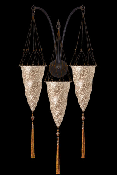Silberne Fortuny Cesendello Dreifachbogen-Wandleuchte aus Glas