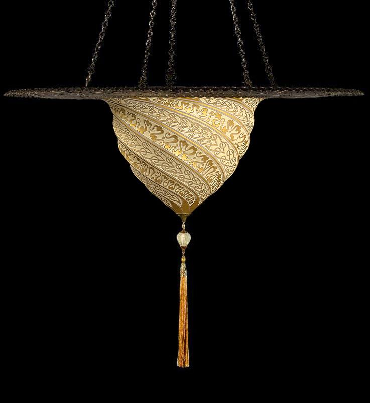 Fortuny Samarkanda goldene Glasleuchte mit Metallring