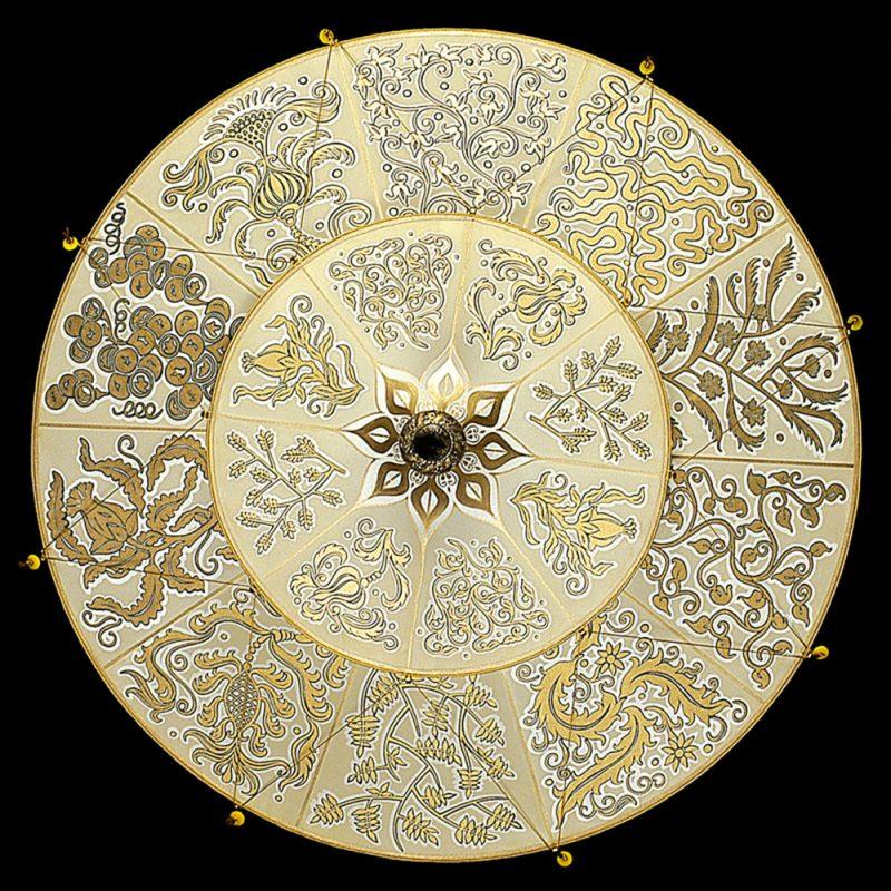 Fortuny Scheherazade Herbarium Seidenleuchte in 2 Ebenen