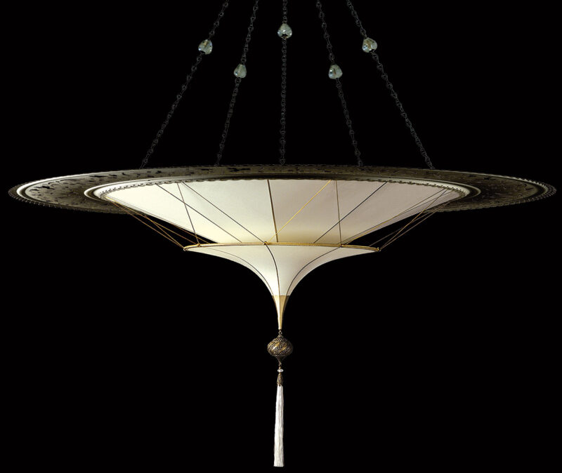 Fortuny Scheherazade 2 tiers Plain silk lamp with metal ring