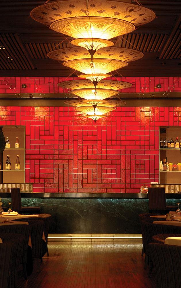 Restaurant with Fortuny Scheherazade lamps