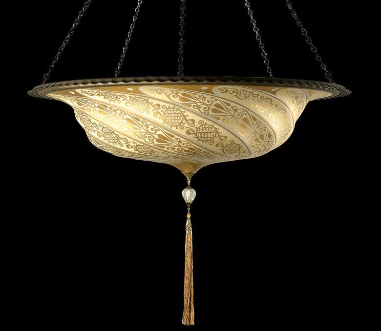 Fortuny Scudo Saraceno Klassische Goldene Glasleuchte