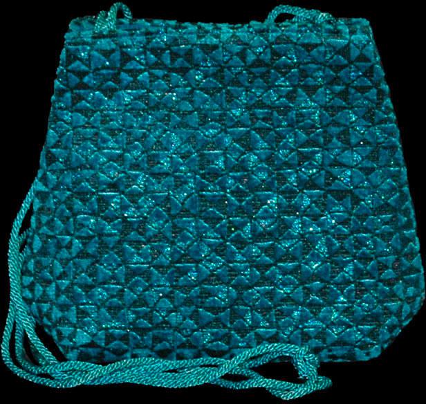 Fortuny türkisblaue Gioia Alessandrino handbedruckte Samttasche