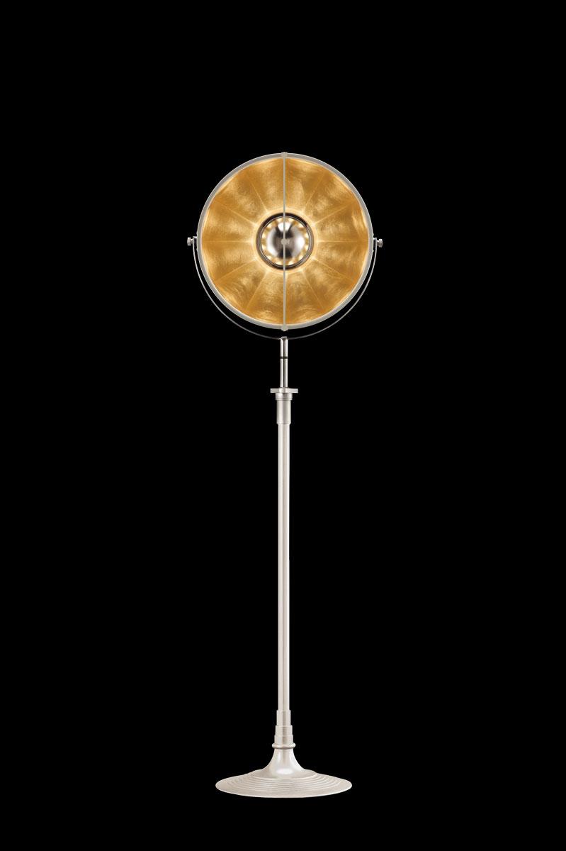 Fortuny Atelier 41 Stehleuchte aus Weiß und Blattgold