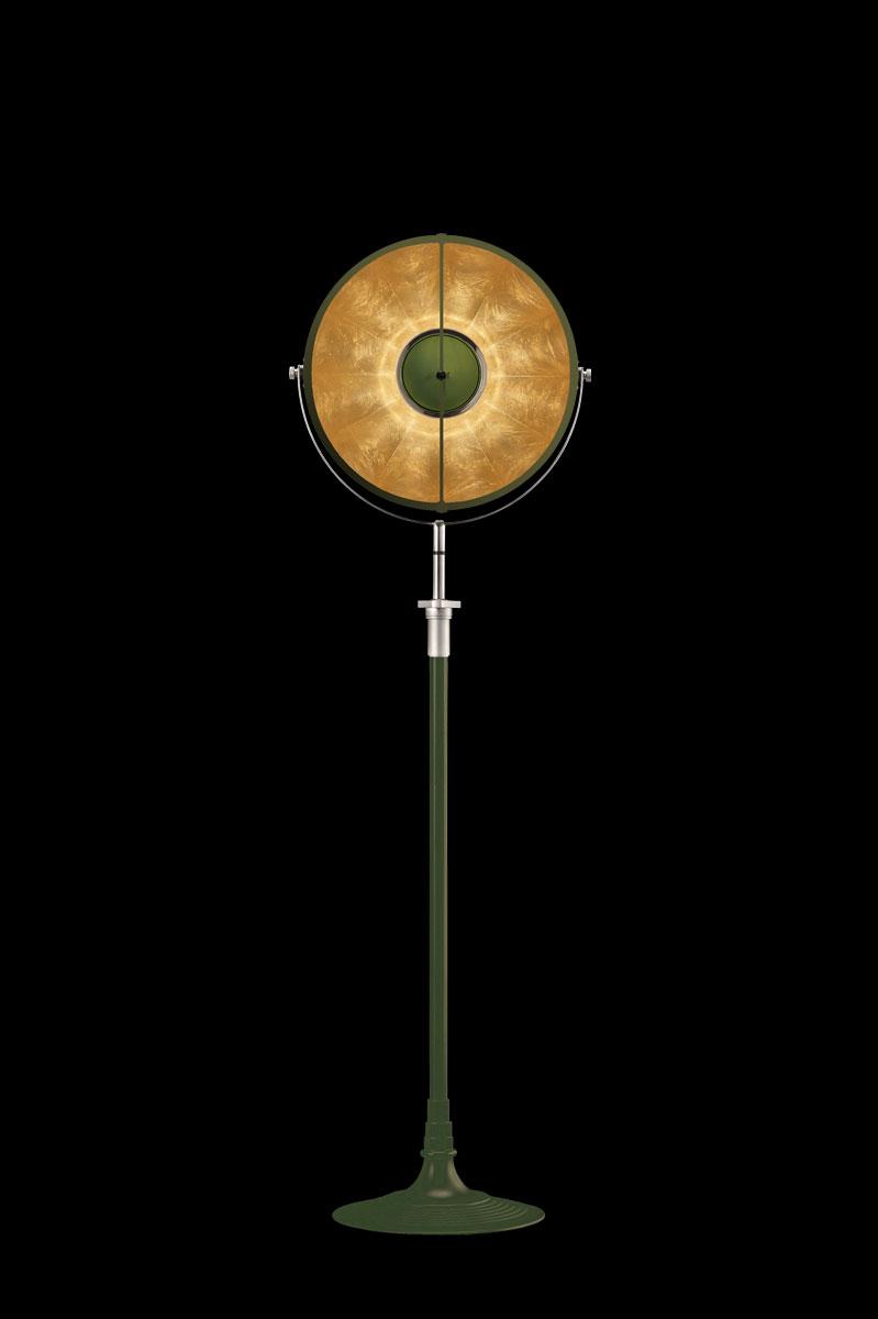 Fortuny Atelier 41 Stehleuchte aus Pastellgrün und Blattgold