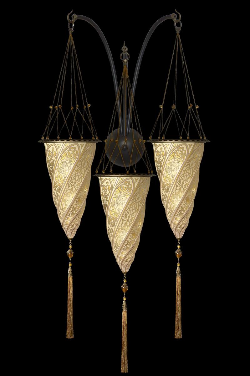 Cesendello Dreifachbogen-Wandleuchte aus Glas