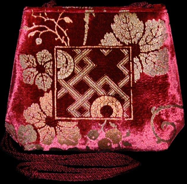 Fortuny Gioia bordeaux handbedruckte Samttasche