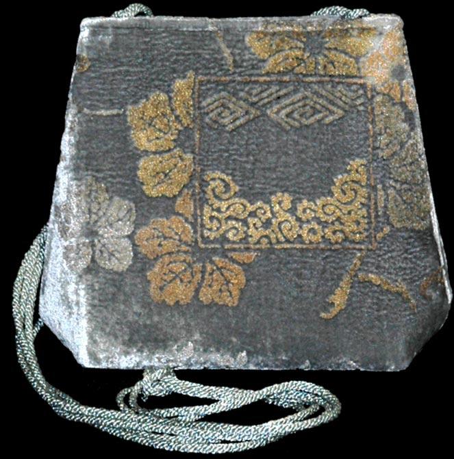 Fortuny graue Gioia handbedruckte Samttasche