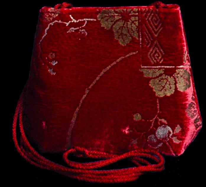 Fortuny Gioia 547 rote handbedruckte Samttasche