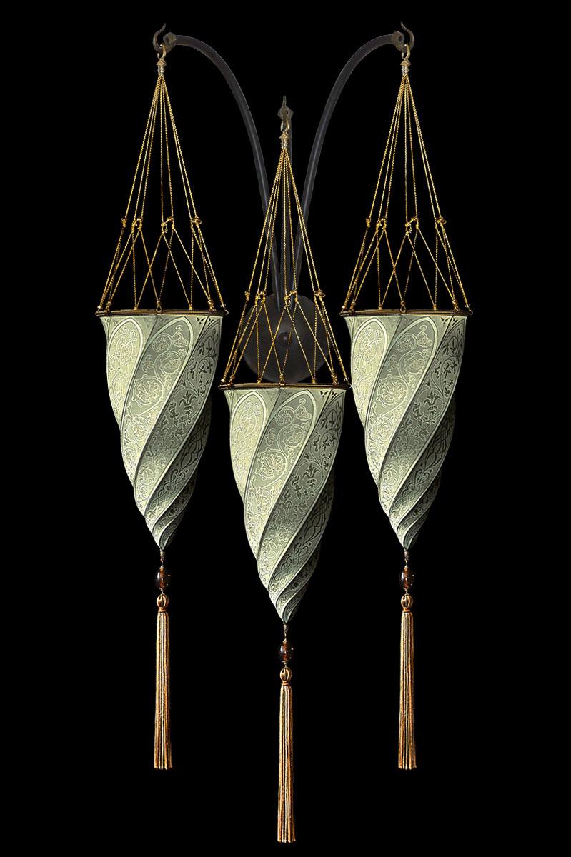 Fortuny Cesendello salbeigrüne Dreifachbogen-Seidenwandleuchte