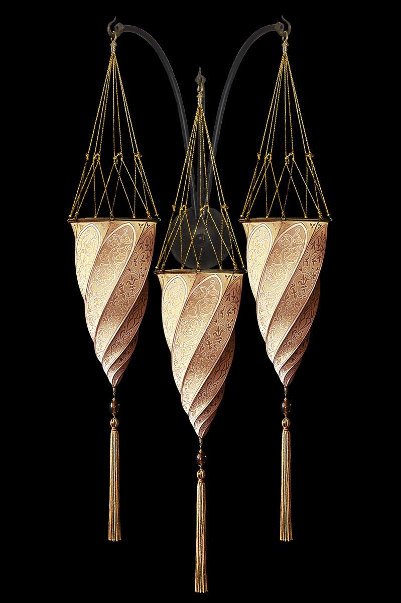 Fortuny Cesendello lachsfarbene Dreifachbogen-Seidenwandleuchte
