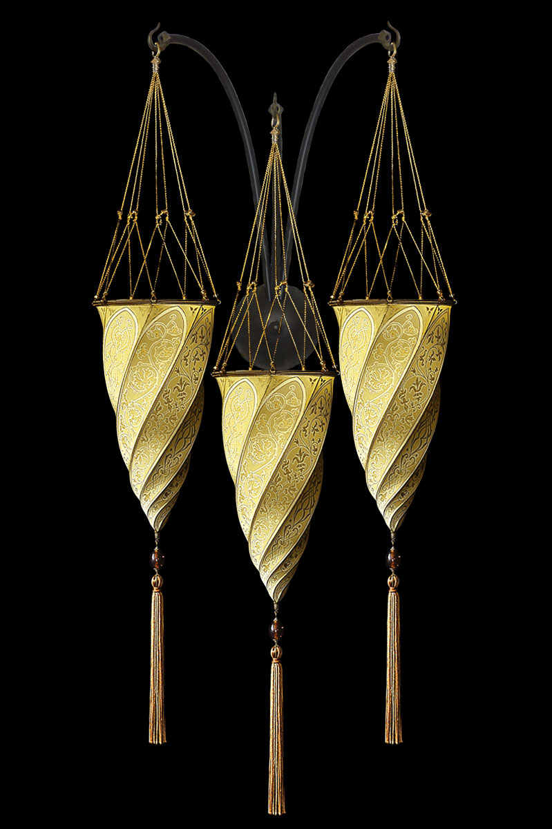 Fortuny Cesendello ockergelbe Dreifachbogen-Seidenwandleuchte