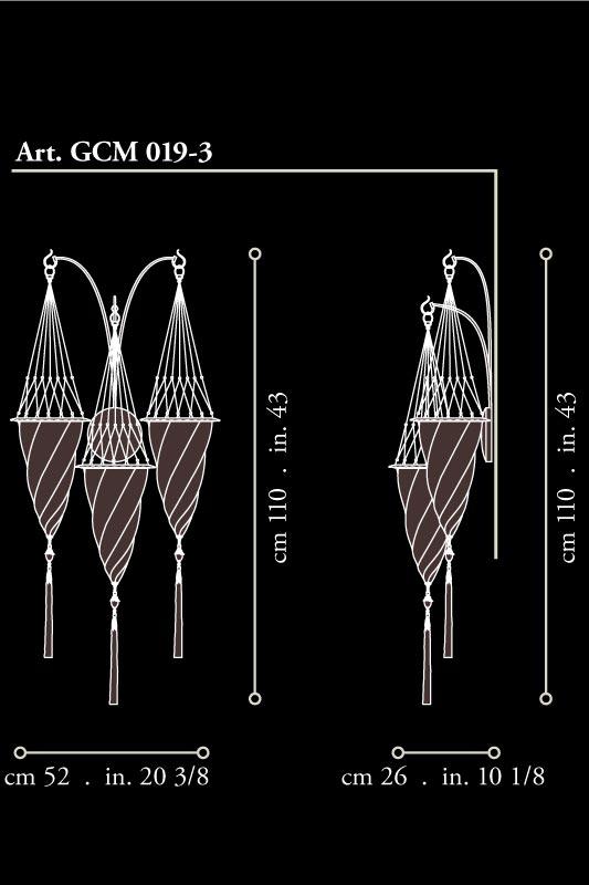 Fortuny Cesendello Dreifachbogen-Seidenwandleuchte grössen