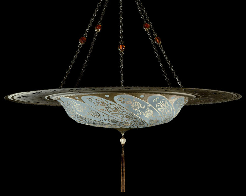 Fortuny Scudo Saraceno Classic light blue silk lamp with metal ring