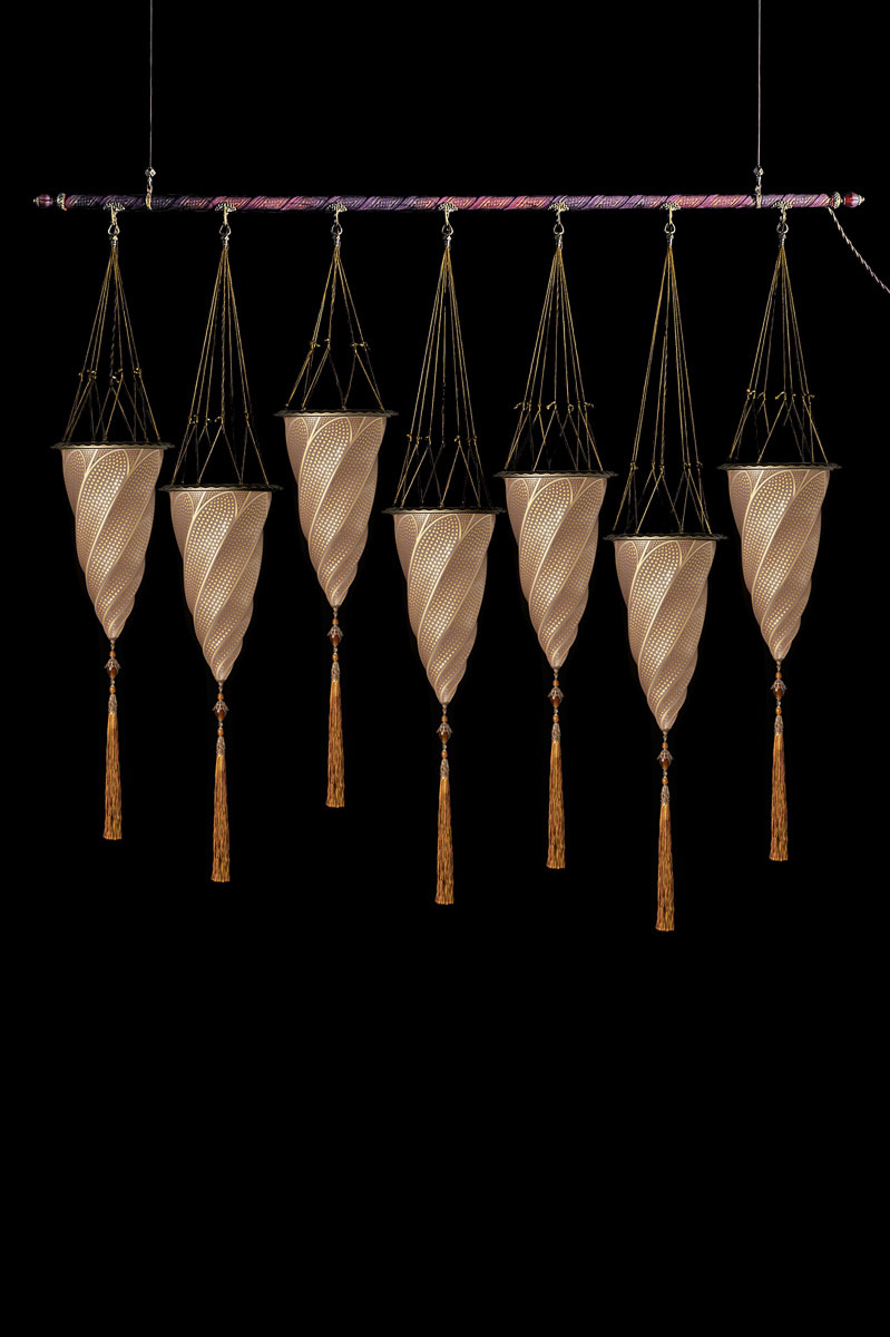 Fortuny Cesendello goldene Mosaikglasleuchte an einer Stange mit 7 Lichtpunkten grössen
