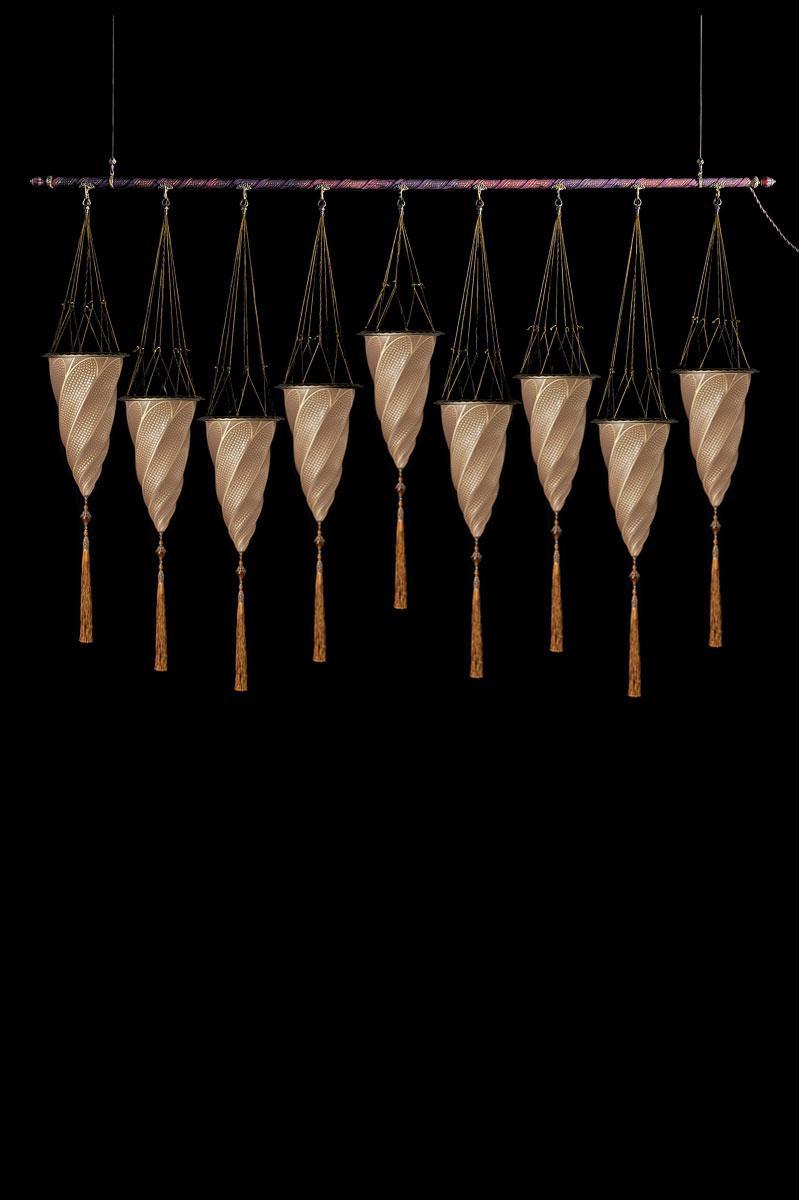 Fortuny Cesendello goldene Mosaikglasleuchte an einer Stange mit 9 Lichtpunkten grössen