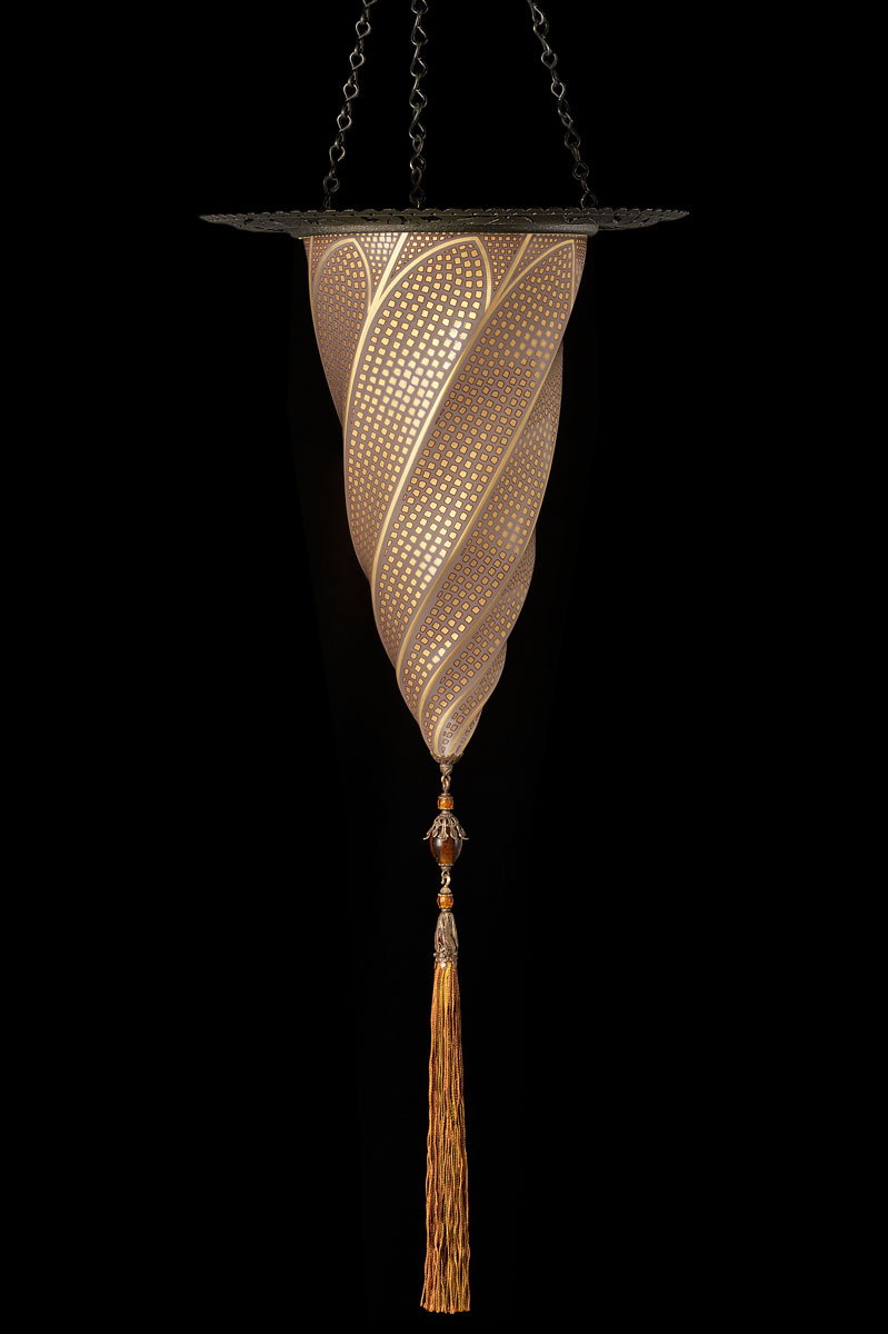 Fortuny Cesendello Musivgoldene Glasleuchte mit Metallring