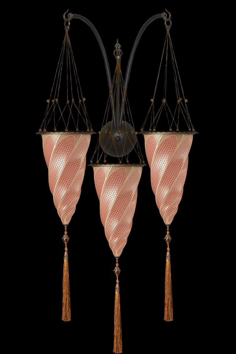 Rote Mosaik Fortuny Cesendello Dreifachbogen-Wandleuchte aus Glas