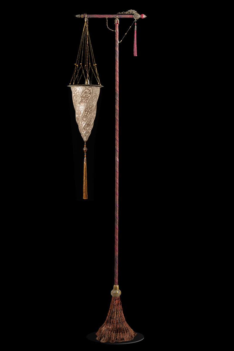 Fortuny Cesendello silberne Stehleuchte aus Glas mit rotem Ständer