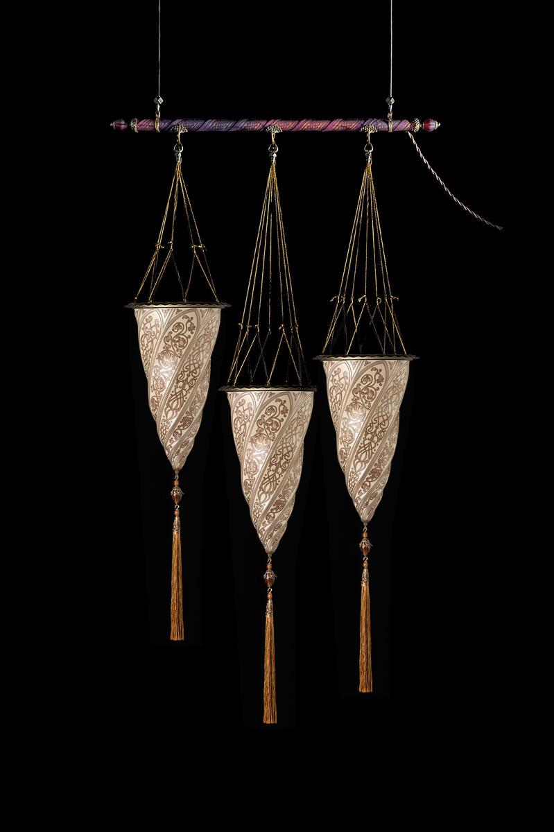 Fortuny Cesendello Silberne Glasleuchte an einer Stange mit 3 Lichtpunkten