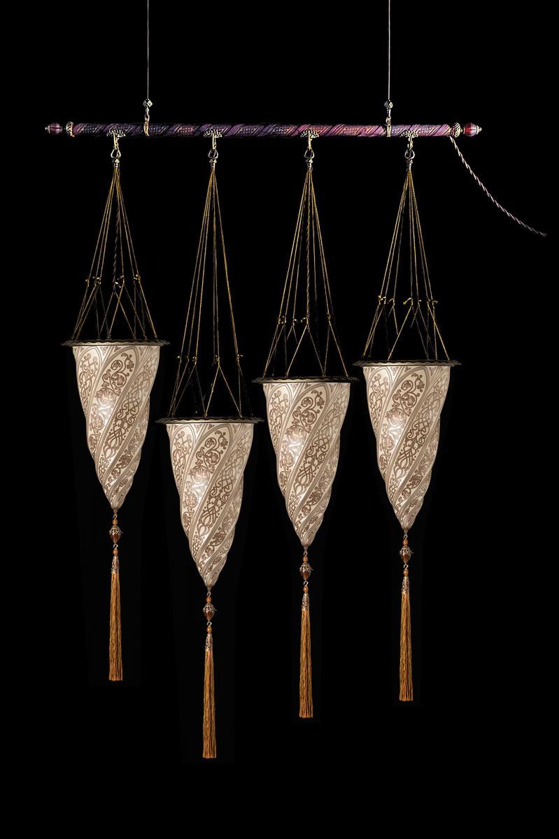 Fortuny Cesendello Silberne Glasleuchte an einer Stange mit 4 Lichtpunkten