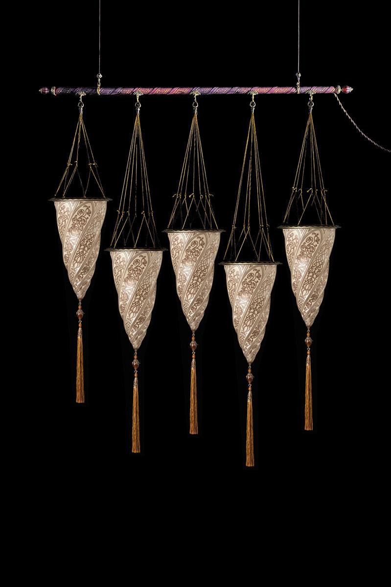 Fortuny Cesendello Silberne Glasleuchte an einer Stange mit 5 Lichtpunkten