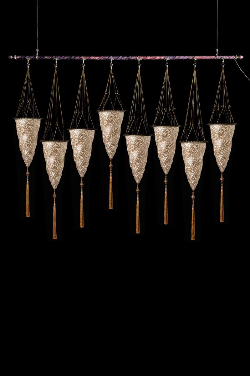 Fortuny Cesendello Silberne Glasleuchte an einer Stange mit 8 Lichtpunkten