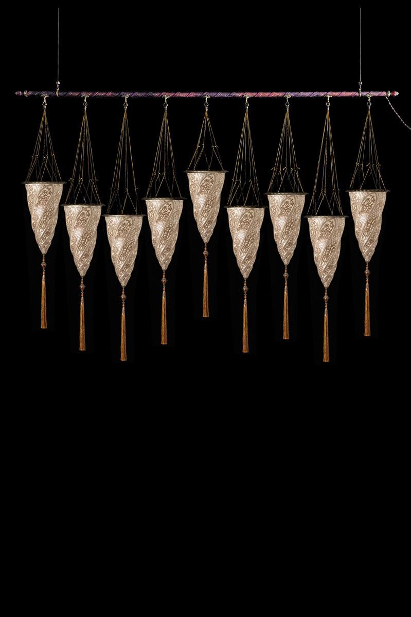 Fortuny Cesendello Silberne Glasleuchte an einer Stange mit 9 Lichtpunkten