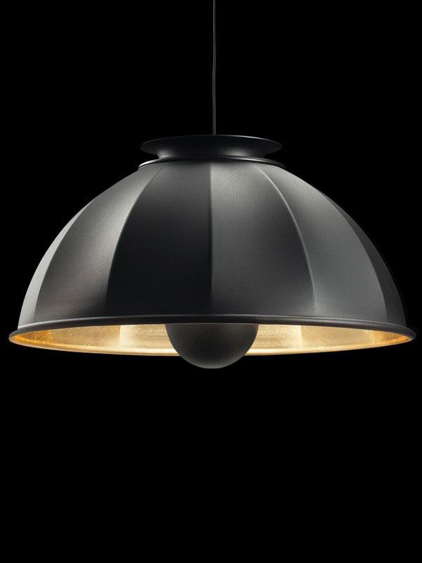 Fortuny Cupola 76 Hängeleuchte aus Schwarz und Blattgold
