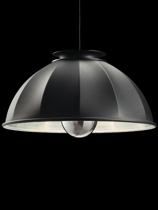 Fortuny Cupola 76 schwarze und blattsilbere Hängeleuchte