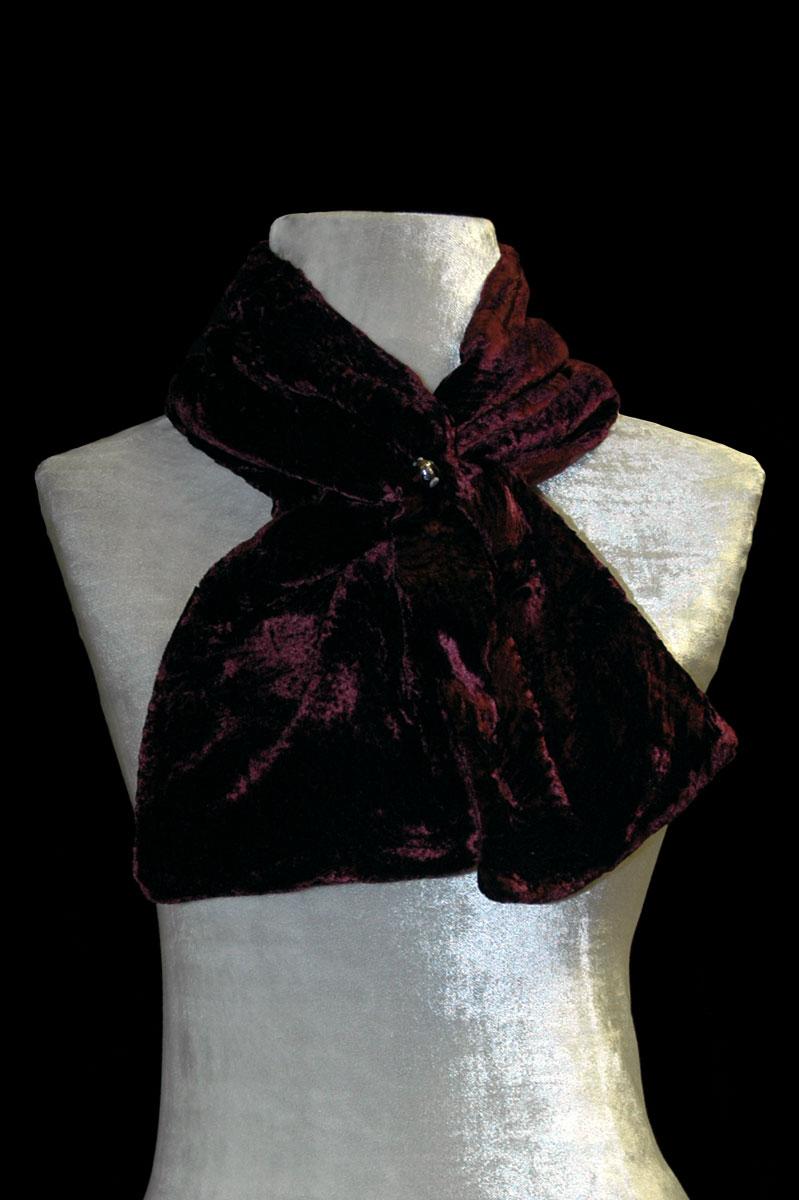 Fortuny dark plum furrowed velvet scarf with Murano glass bead
