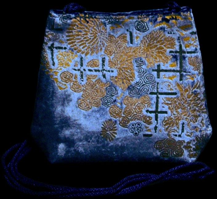 Fortuny Gioia blaue handbedruckte Samttasche