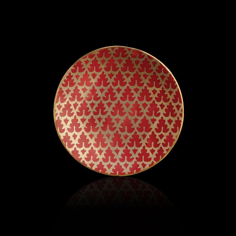 Set aus 4 roten Kuchentellern Fortuny Murillo