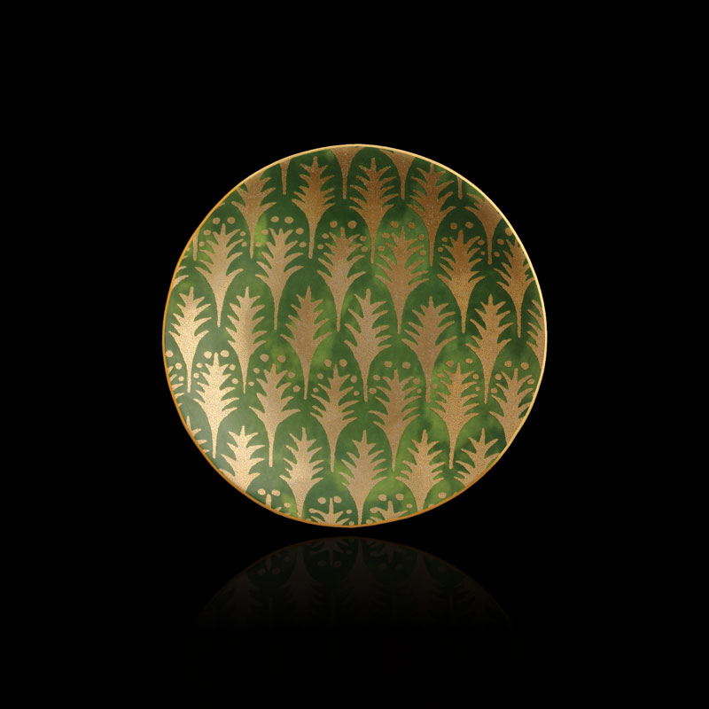 Set aus 4 grünen Kuchentellern Fortuny Piumette