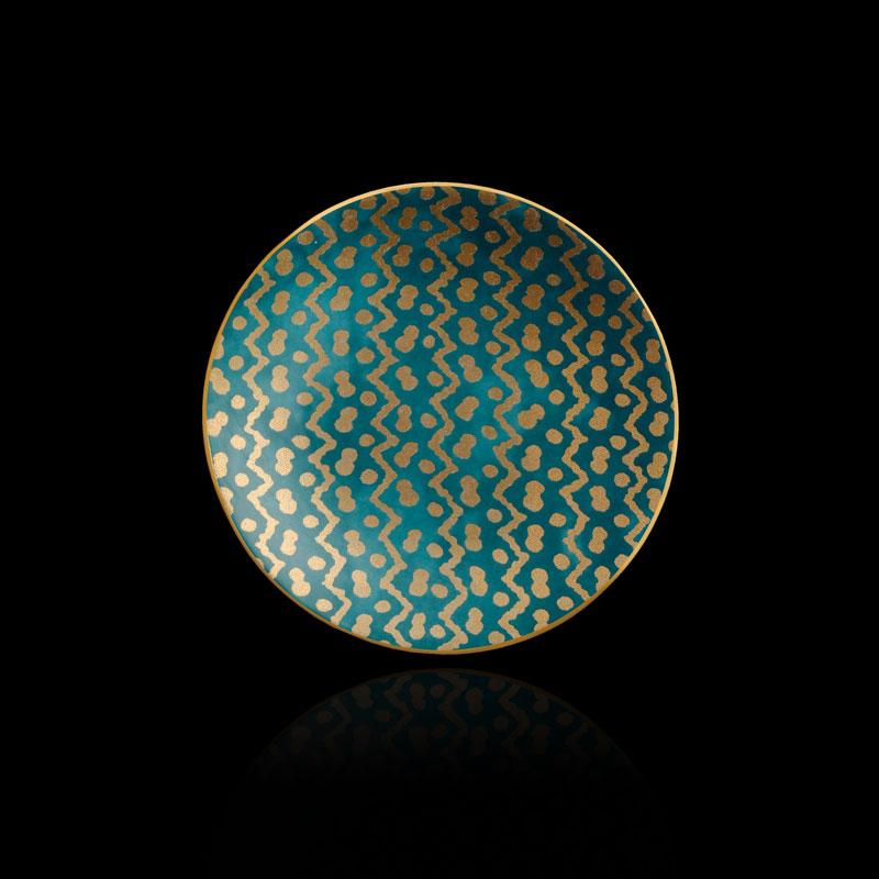 Set aus 4 blaugrünen Kuchentellern Fortuny Tapa