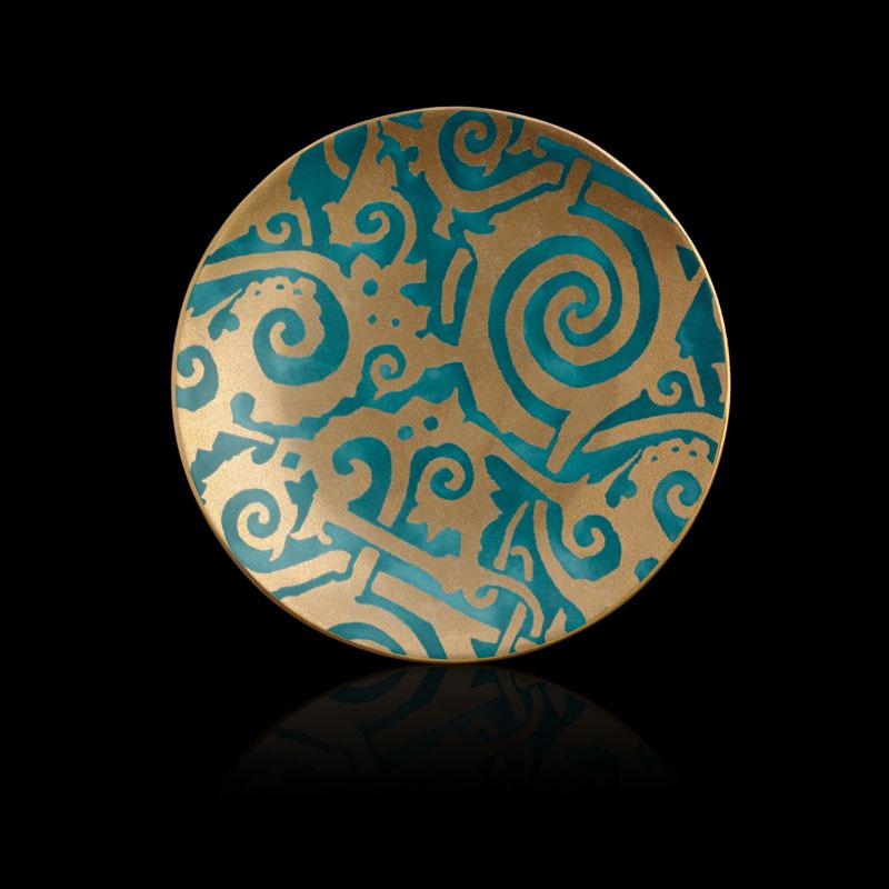 Set aus 4 blaugrünen Desserttellern Fortuny Maori
