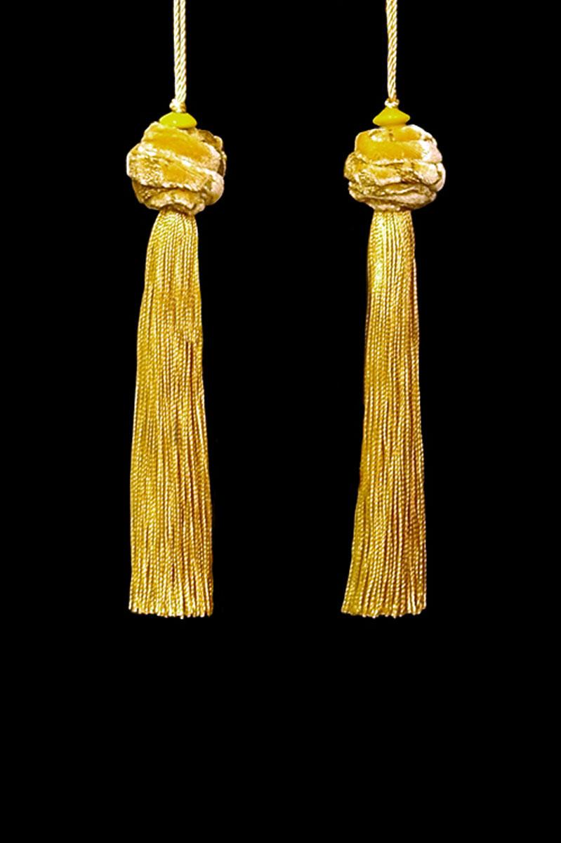 Venetia Studium Turbante couple of yellow gold tassels