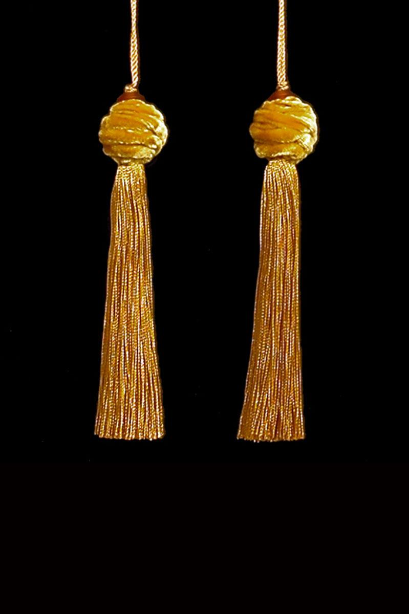 Venetia Studium Turbante couple of  yellow ochred key tassels