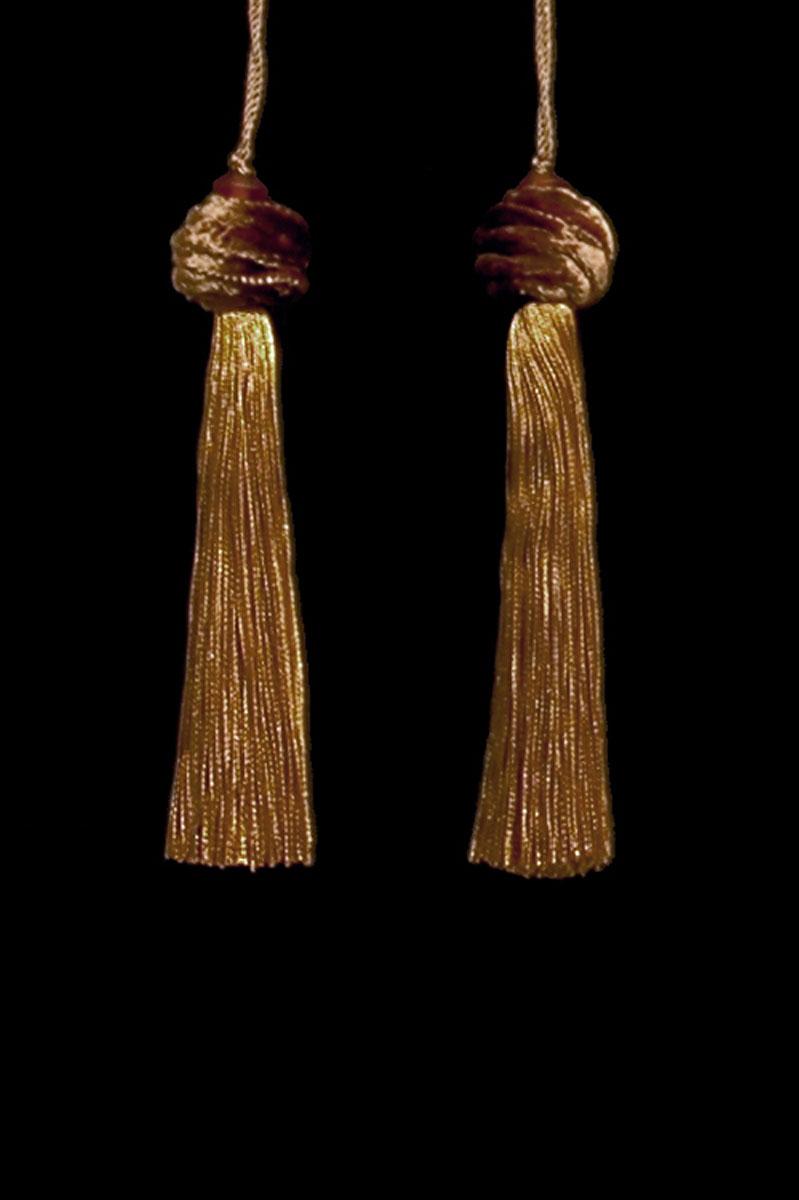 Venetia Studium Turbante couple of brown gold key tassels